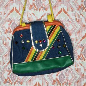 Vintage 80's Denim Jeweled Purse Colorful
